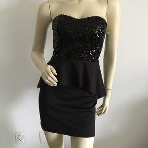 Sequin strapless peplum dress